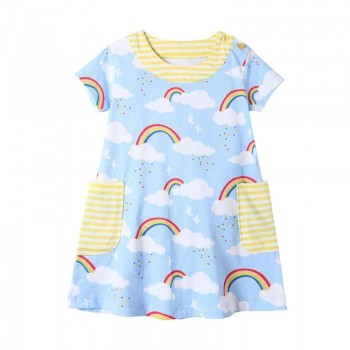 Trendy Striped Rainbow Patterned Short-sleeve Dress for Toddler Girl and Girl
