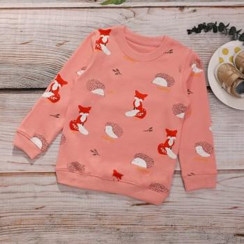 Cute Fox and Hedgehog Patterned Long-sleeve Pullover for Baby Girl and Girl