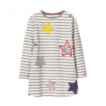 Stylish Striped Star Applique Long-sleeve Dress for Toddler Girl and Girl