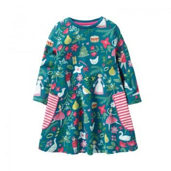 Stylish Christmas Theme Patterned Long-sleeve Dress for Toddler Girl and Girl