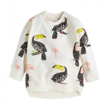 Cute Flamingo Patterned Long-sleeve Pullover for Baby and Kid