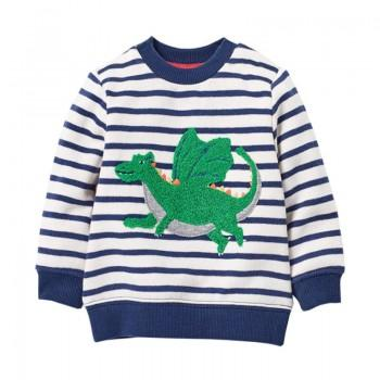 Trendy Striped Dinosaur Appliqued Long-sleeve Pullover
