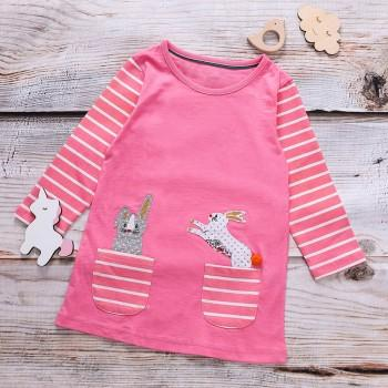 Sweet Rabbit Applique Striped Long-sleeves for Toddler Girl and Girl