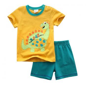 Trendy Dinosaur Print Short-sleeve Top and Pants Set for Baby Boy