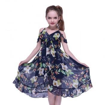 Wonderful Floral Design Cold-shoulder Dress in Black for Girl