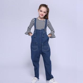 2-piece Flare Sleeves Striped Top and Denim Overalls Set for Girls