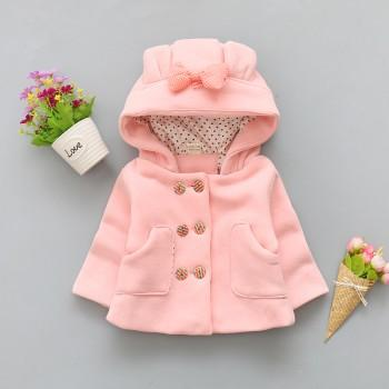 Sweet Bow Decor Double Breasted Hooded Coat for Baby Girl