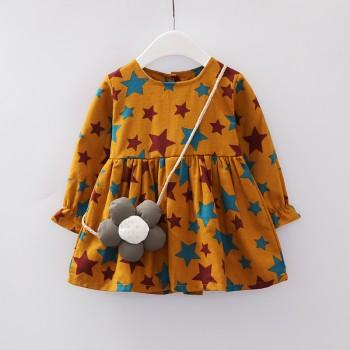 Pretty Star Pattern Ruffled Long Sleeves Dress with Bag for Baby Girl