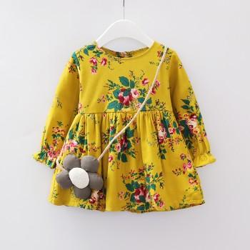 Pretty Floral Ruffled Long Sleeves Dress with Bag for Girls