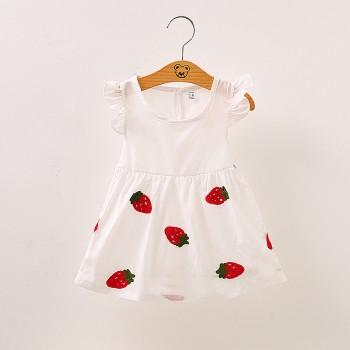 Snappy Strawberry Embroidery 3D Flower Decor Dress for Baby Girl