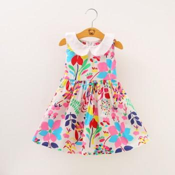 Sweet Floral Doll Collar A-line Sleeveless Dress for Girls