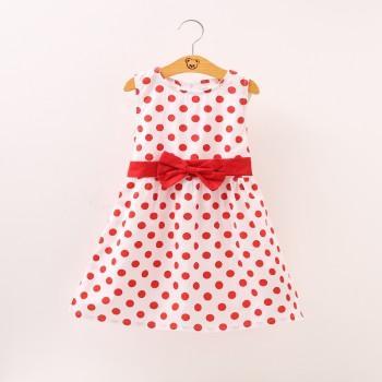 Sweet Bowknot Decor Polka Dotted Sleeveless Dress for Girls