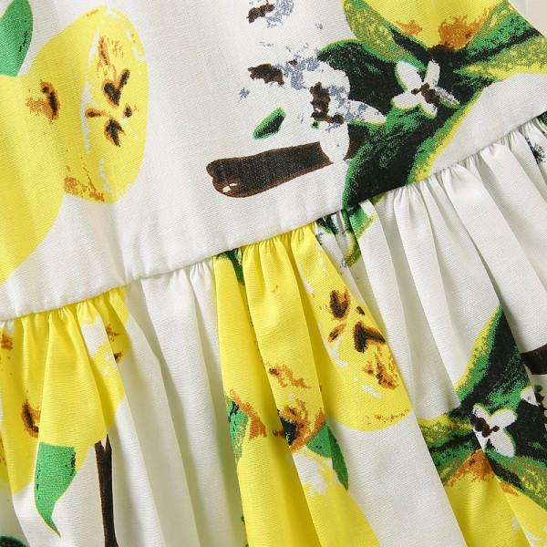 Pretty Lemon Pattern Pleated Sundress for Girls