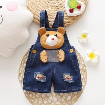 Baby's Cute 3D Bear Applique Denim Overalls