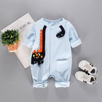 Cute Appliqued Dinosaur Pocket Long-sleeve Jumpsuit for Baby