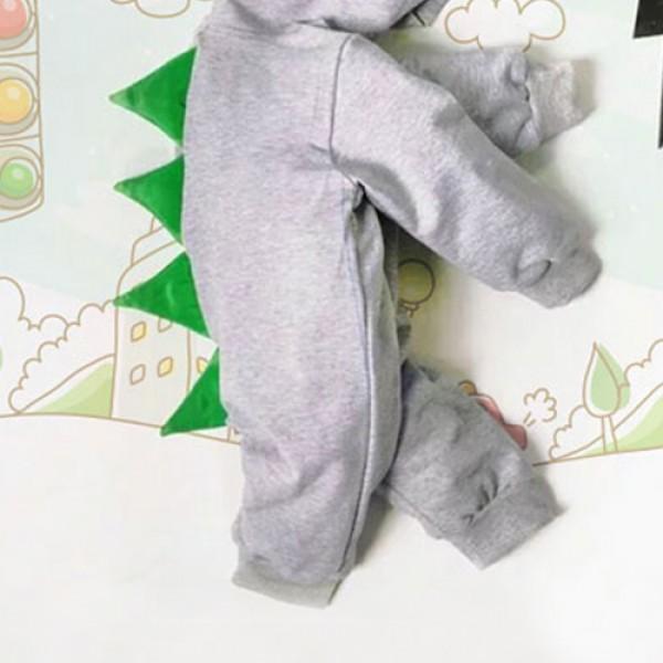 Trendy Dinosaur Design Long-sleeve Hooded Jumpsuit for Baby Boy