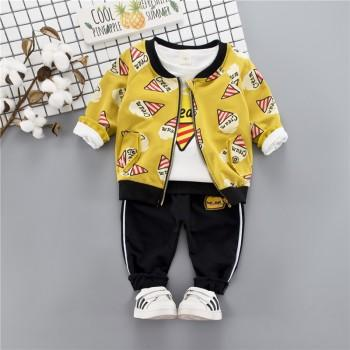 3-piece Fun Cream Print Top Coat and Pants Set for Baby and Toddler Boy