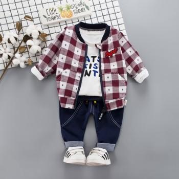 3-piece Letter Top Plaid Coat and Pants Set for Baby Boy