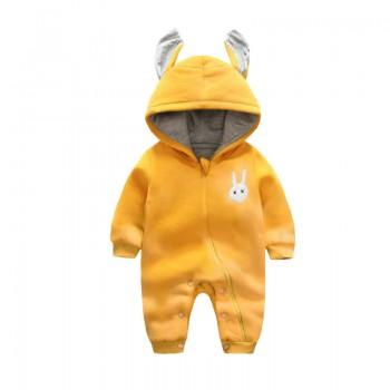 Lovely Rabbit Appliqued Long-sleeve Hooded Jumpsuit for Baby
