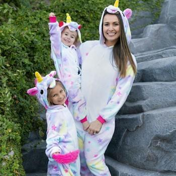 Fancy Mommy and Me Unicorn Design Star Print Hooded Jumpsuit