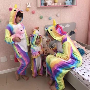 Pretty Unicorn Design Long-sleeve Hooded Pajama for Mom and Me