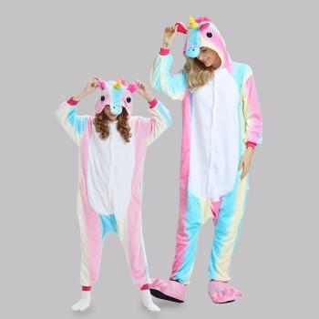 Trendy Unicorn Design Hooded Mommy and Me Onesie Pajamas
