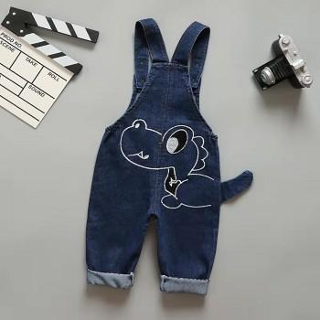 Cuddly Dino Embroidered Dotted Overalls for Baby and Toddler