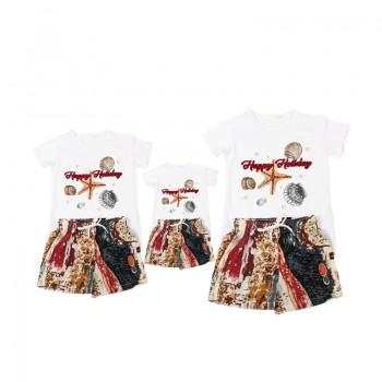 2-piece Trendy Shell Print Short-sleeve T-shirt and Shorts Family Set