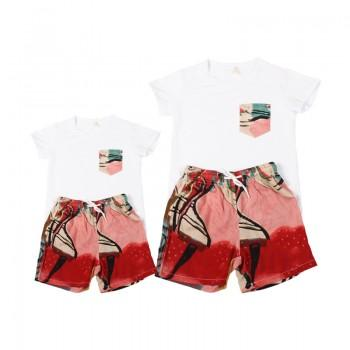 Stylish Patterned Short-sleeve T-shirt and Shorts Set  for Daddy and Me