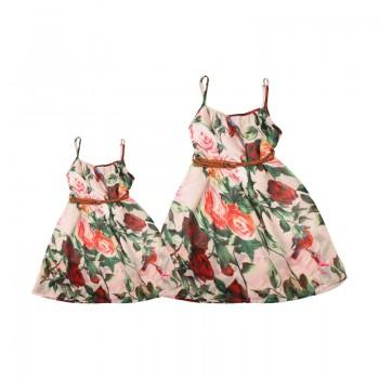 Pretty Floral Strap Mommy and Me Dress in Light Pink