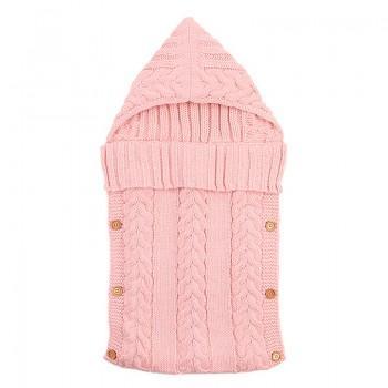 Comfy Hooded Knit Sleeping Bag Blanket for Newborn