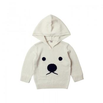 Cute Bear Graphic Hooded Knit Sweater for Baby Boy