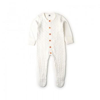 Baby's Long Sleeves Solid Knitted Footie Jumpsuit