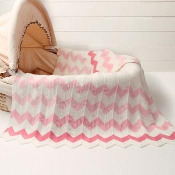 Comfy Wave Stripes Knit Blanket for Baby
