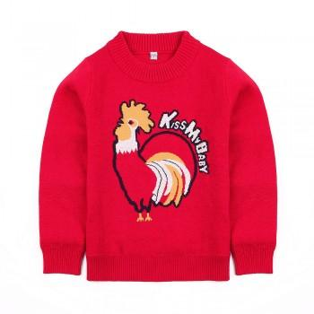Stylish Rooster Graphic Knit Sweater for Boy