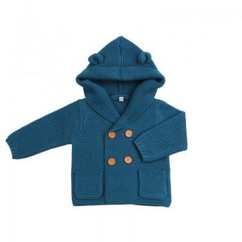 Stylish Solid Ear Decor Double-breasted Hooded Knit Jacket for Baby Boy