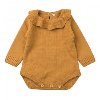 Baby Girl's Solid Flounced Collar Long Sleeves Knit Bodysuit