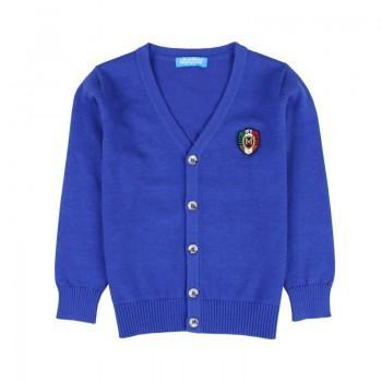 Stylish Solid Badge Decor V-neck Knit Cardigan for Boy