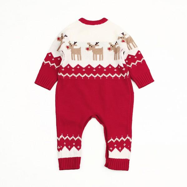 Adorable Deer Pattern Long-sleeve Knit Jumpsuit for Baby
