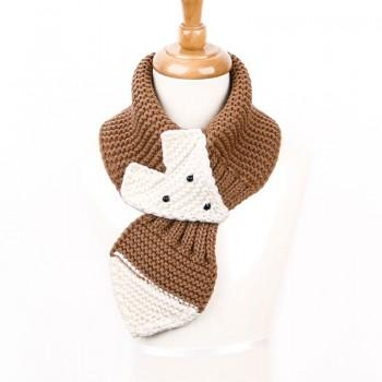 Lovely Fox Design Knitted Scarf for Baby