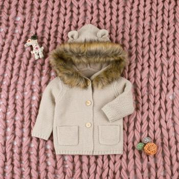 Lovely Solid Long-sleeve Hooded Coat for Baby