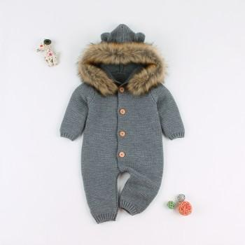 Fashionable Knitted Bear Design Hooded Long-sleeve Jumpsuit