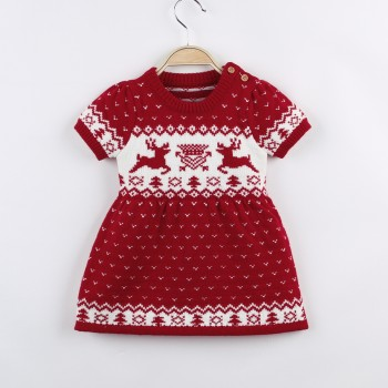 Stylish Christmas Deer Pattern Small Heart Allover Knitted Dress