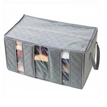 Collapsible See-through Cloth Storage Bag in Grey