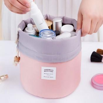 4-piece Portable Cylinder Drawstring Cosmetic Bag, Two Storage Bags and Transparent Bag Set