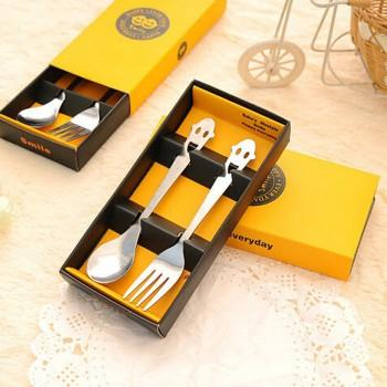2-piece Unique Smiley Design Stainless Steel Spoon ans Fork