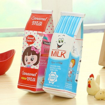 Lovely Soft Milk Bottle Design Cartoon Print Pencil Box