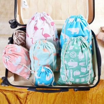 3-piece Trendy Cartoon Print Drawstring Storage Bag