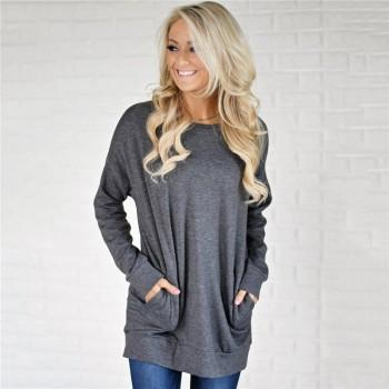 Comfy Solid Pocket Long-sleeve Tunic for Women