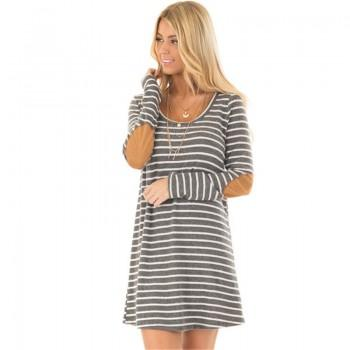 Classic Stripes Long Sleeves Dress for Women